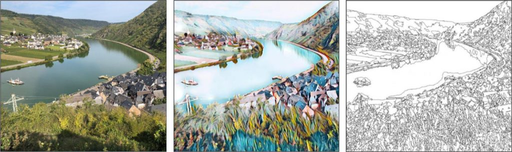 Mosel Motivbeispiel mit Foto Kunst-Effekt und Malvorlage