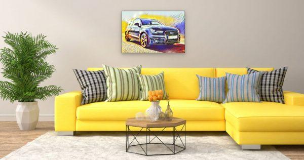 Audi (Effektbild) über Wohnzimmer Couch