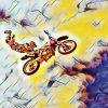 Biker macht Stunt in der Luft (Effektbild)