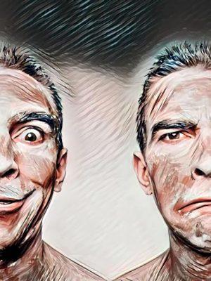 Zwei Gesichter fröhlich-traurig (Effektbild)