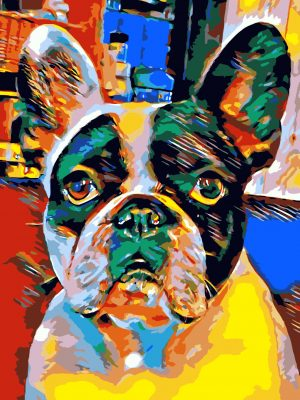Mops Hund Retro-Pop Art Bild