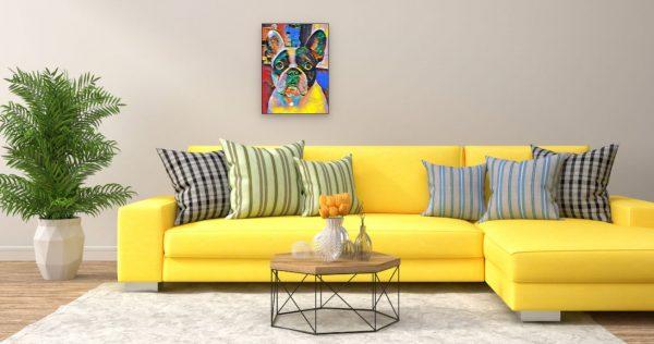 Mops Hund Retro-Pop Art (Effektbild) über Wohnzimmer Couch