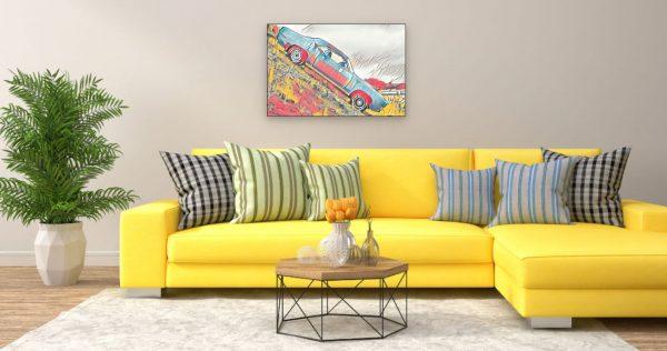 Mustang am Abgrund (Effektbild) über Wohnzimmer Couch