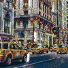 New York Hochhaus Fassaden und gelbe Taxis
