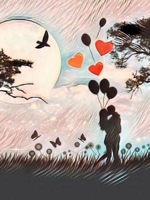 Küssendes Pärchen bei Nacht (Effektbild)