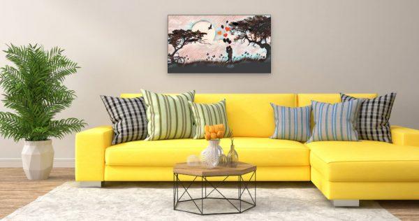 Küssendes Pärchen bei Nacht (Effektbild) über Wohnzimmer Couch