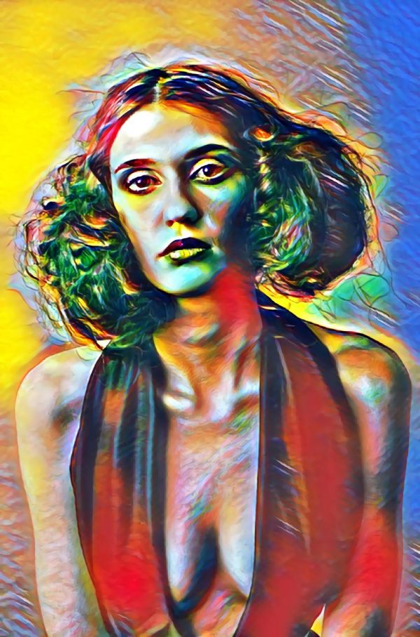 Frau mit tiefem Dekolleté (Effektbild)
