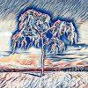 Verschneiter Baum in Schneelandschaft
