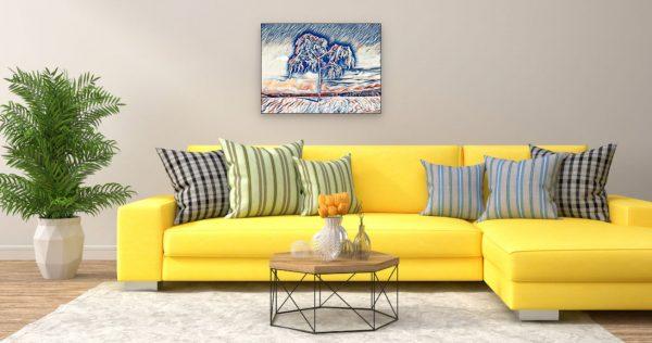Verschneiter Baum (Effektbild) über Wohnzimmer Couch
