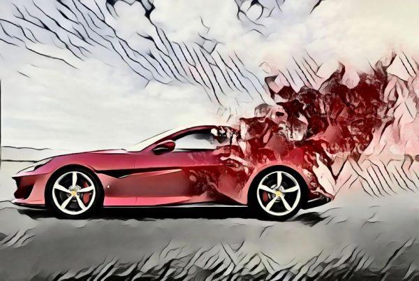 Roter Sportwagen mit Explosion im Heck