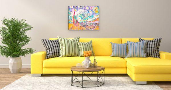 Vincent van Gogh Sternennacht (Effektbild) über Wohnzimmer Couch