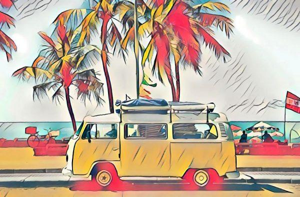 VW Camper am Strand (Effektbild)